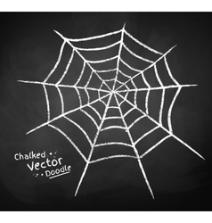 Chalkboard drawing of spider web vector
