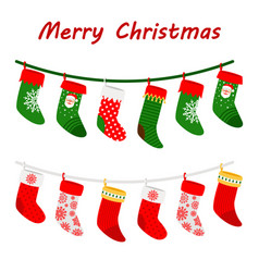 christmas socks garlands icons on white background vector image