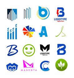 collection icons logotype vector image