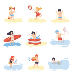 Collection of cute boys and girls in bathing suits vector