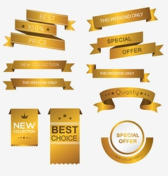 Collection of golden premium promo banners vector image