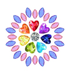 Colored marquise heart cut gems vector