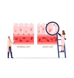 Comparison normal and sick gastrointestinal vector
