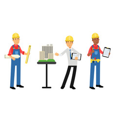 constructor or builder in yellow hard hat holding vector image