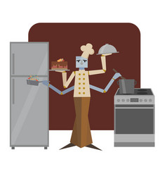 cook robot android cooks food in kitchen vector image