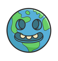 Creepy smiling planet earth cartoon vector