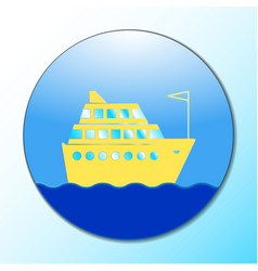 cruise ship icon on round internet button original vector image