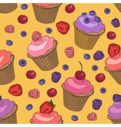 Cupcakes and berries seamless pattern vector