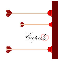 Cupid arrows stuck on a wall valentine day vector
