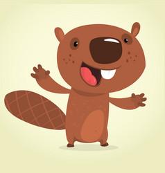 Cute cartoon beaver talking vector