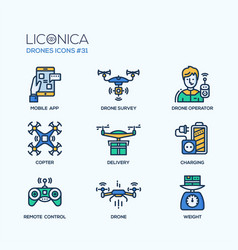 Drones - modern flat line design icons set vector