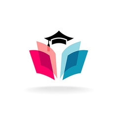 education logo concept with graduation cap vector image