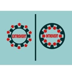 Extrovert vs introvert metaphor vector