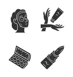 Feminine hygiene makeup glyph icons set skin care vector