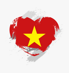 Flag of vietnam isolated on grunge heart vector