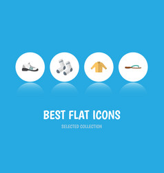 Flat icon garment set foot textile sneakers vector