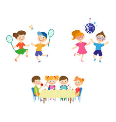 Flat summer camp kids activity set vector