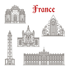 French travel landmark icon of linear architecture vector
