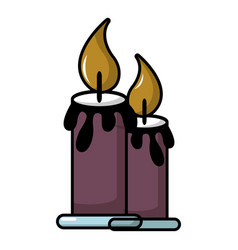 Funeral candles icon cartoon style vector
