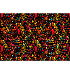 funky colorful floral wallpaper vector image