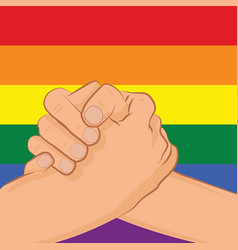 gay couple holding hands patterned as the rainbow vector image