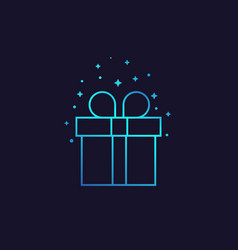 Gift box line icon vector