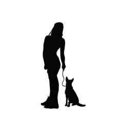 Girl sensual silhouette with dog in black vector