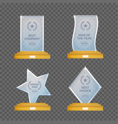 Glass trophy awards set glossy transparent vector