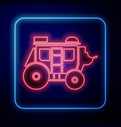 glowing neon western stagecoach icon isolated on vector image