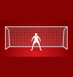 Goalkeeper actionprepare catches the ball vector