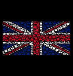 Great britain flag pattern of warning icons vector