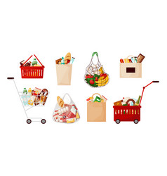 grocery food bags supermarket cart and basket vector image