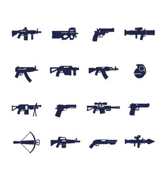 Guns and weapons icons rifles pistols vector
