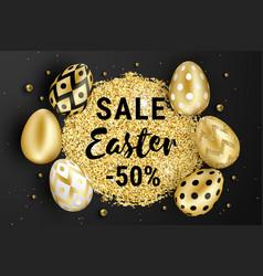 Happy easter golden eggs design black vector