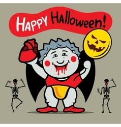 Happy Halloween Cute Crazy Vampire Cartoon vector image