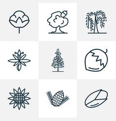 Harmony icons line style set with pine nut hazel vector