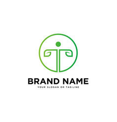 Human and letter t logo design vector