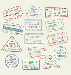 icons world travel city passport stamps vector image