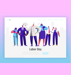 labor day profession character group landing page vector image
