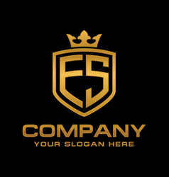 letter es initial logo luxury logo design vector image