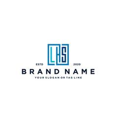 Letter lhs square logo design vector