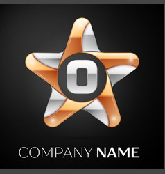 Letter o logo symbol in the colorful star on black vector
