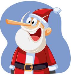 Liar santa claus with long nose cartoon vector