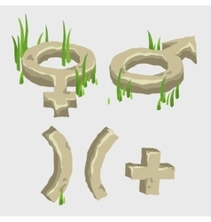 Male and female symbol plus from the stone vector
