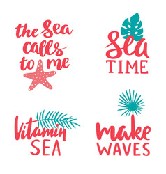 marine lettering collection sea time vitamin vector image