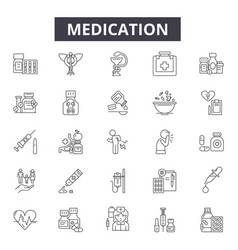 medication line icons signs set linear vector image