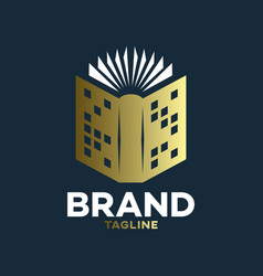 modern book and real estate logo vector image