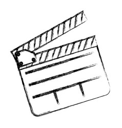 Monochrome sketch sticker with clapperboard cinema vector