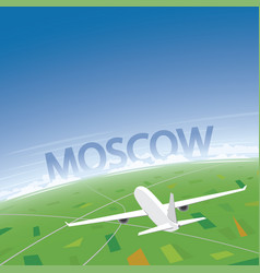 Moscow flight destination vector