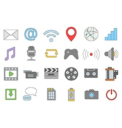 Multimedia colorful icons set vector image